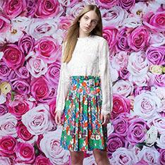 LINDARICO 特殊照型棉裙 (綠/彩色花)