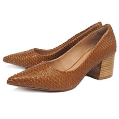 TINO BELLINI 異材質壓紋跟鞋-咖