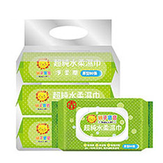 獅子寶寶 超純水柔濕巾厚型80抽 含保濕蓋 (12包/箱) (箱購)