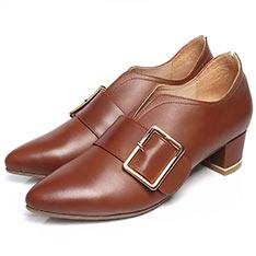 KOKKO V口釦帶跟鞋(駝)