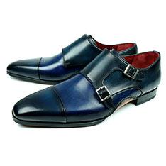MAGNANNI 西班牙經典橫飾復古刷色孟克紳士鞋 海軍藍