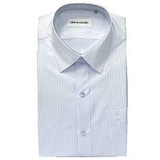 pierre cardin 短袖免燙襯衫-淺條紋