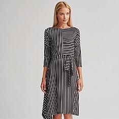 APANAGE 條紋變化洋裝 黑白條紋