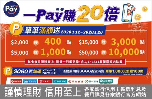 【歲末加碼版】HAPPY GO Pay天天Pay 一Pay賺20倍