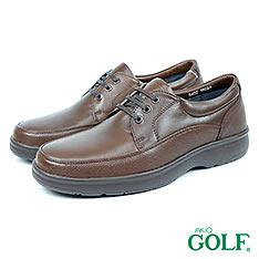 【GOLF】舒適輕量頂級牛皮綁帶氣墊休閒皮鞋