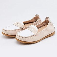 itabella 真皮雙色休閒鞋(0230-60杏白色)