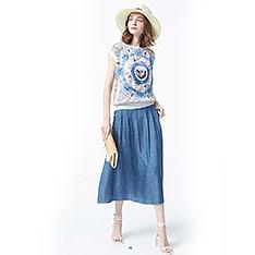 五銅 單寧色絲質長裙-藍色