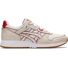 ASICS 休閒鞋(米色底紅線)