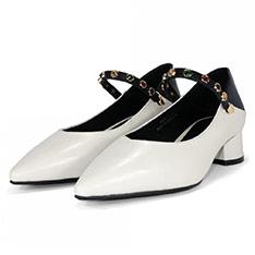 BEN&1966 飾帶兩穿粗跟鞋-米白