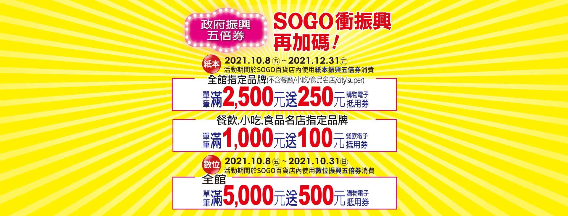 政府振興五倍券 SOGO衝振興再加碼(含數位)