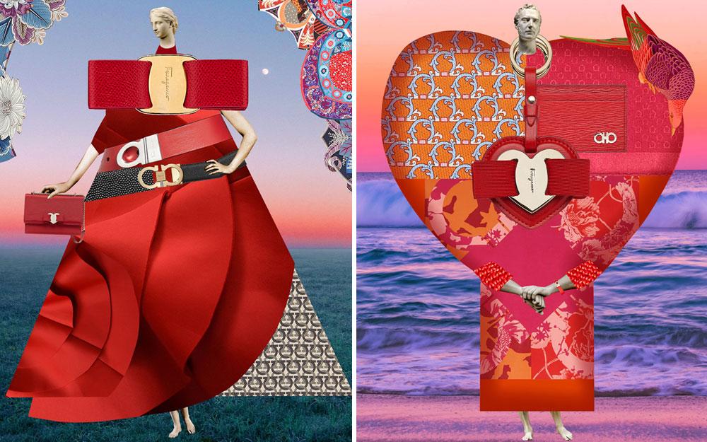 美國拼貼畫藝術家Johanna Goodman為Ferragamo創作西洋情人節多媒體藝術品