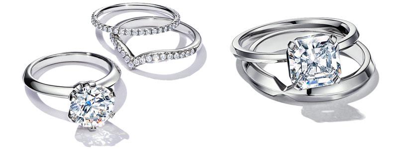 Tiffany True 鉑金鑽石戒指、The Tiffany Setting 鉑金六爪鑽石戒指及一系列的訂情及結婚戒指